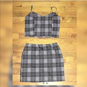 Tartan Cami Top & Hem Skirt Set